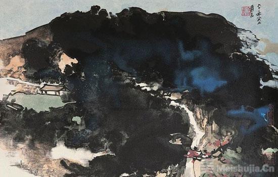 他采用了特殊的汽水墨,如同蘸取中国墨汁一样在石版上画画.